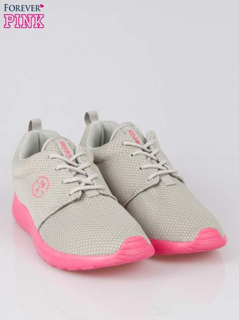 Szare siateczkowe buty sportowe na różowej podeszwie                                  zdj.                                  2