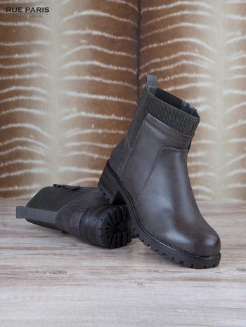 Szare skórzane botki faux leather na suwak, z traktorową podeszwą                                  zdj.                                  3