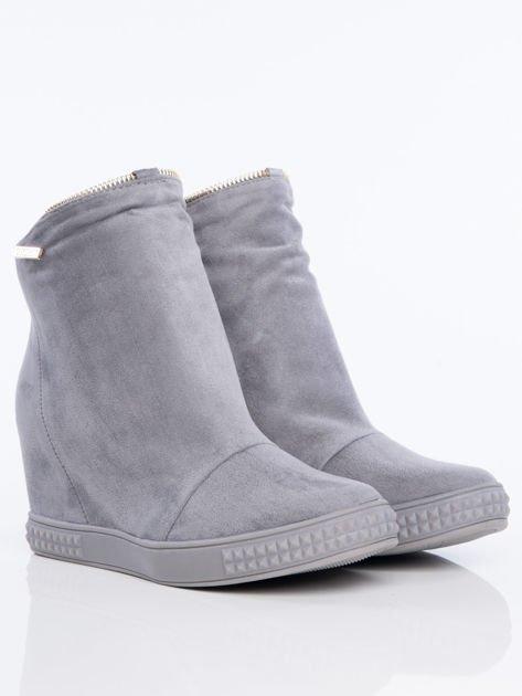 Szare sneakersy z ozdobnym suwakiem dookoła cholewki                              zdj.                              2