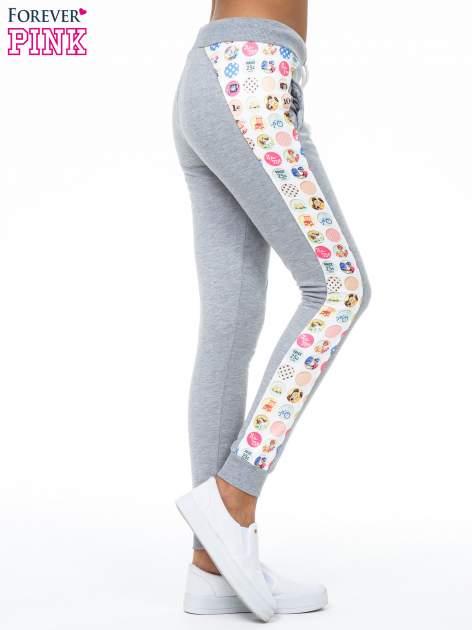 Szare spodnie dresowe z kolorowym lampasem                                  zdj.                                  3