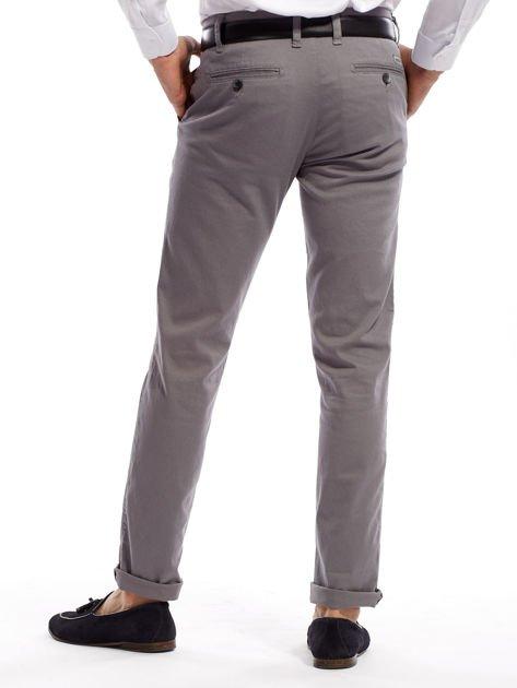 Szare spodnie męskie chinosy o prostym kroju                              zdj.                              2