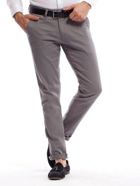 Szare spodnie męskie chinosy o prostym kroju                                  zdj.                                  13