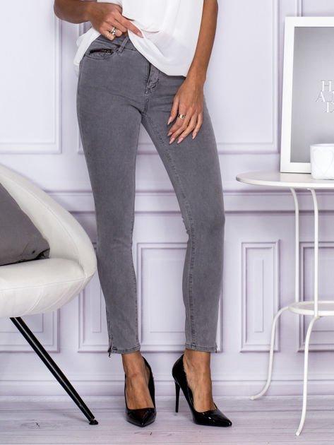 Szare spodnie z suwakami na nogawkach                              zdj.                              1