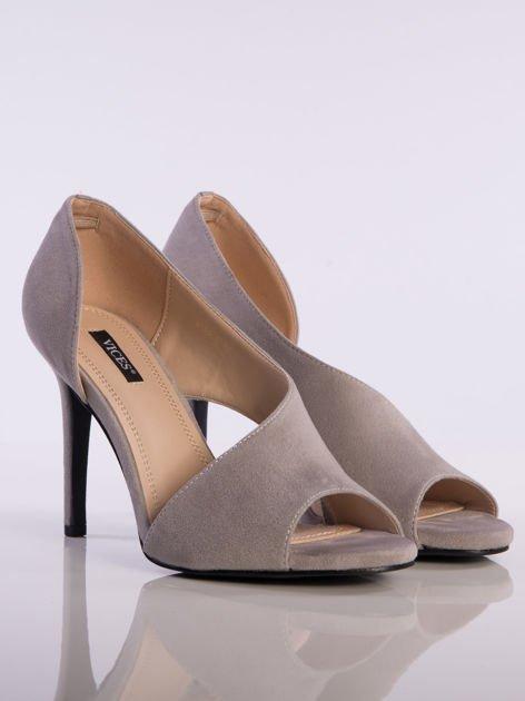 Szare wsuwane sandały na szpilkach z asymetryczną cholewką