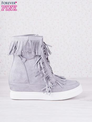 Szare zamszowe botki sneakersy Chalotte na ukrytym koturnie z frędzlami                                  zdj.                                  1