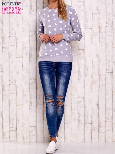 Szaro-biała bluza z nadrukiem serduszek                                  zdj.                                  3