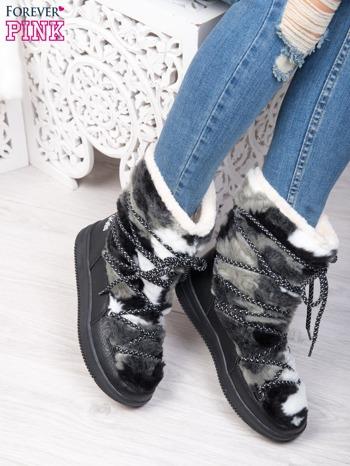 Szaro-białe pluszowe śniegowce z kolorowymi sznurówkami na ciemnej podeszwie                                  zdj.                                  4