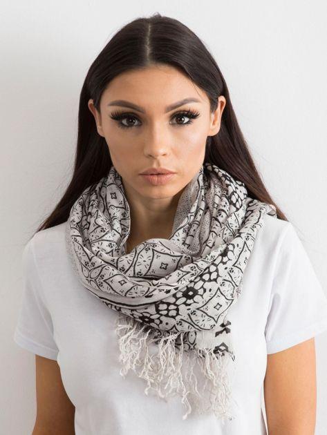 Szaro-czarna bawełniana chusta we wzory