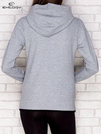 Szaro-czarna bluza z kapturem i kieszeniami