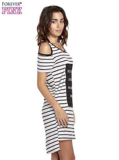 Szaro-czarna sukienka w paski cut out shoulder                                  zdj.                                  3