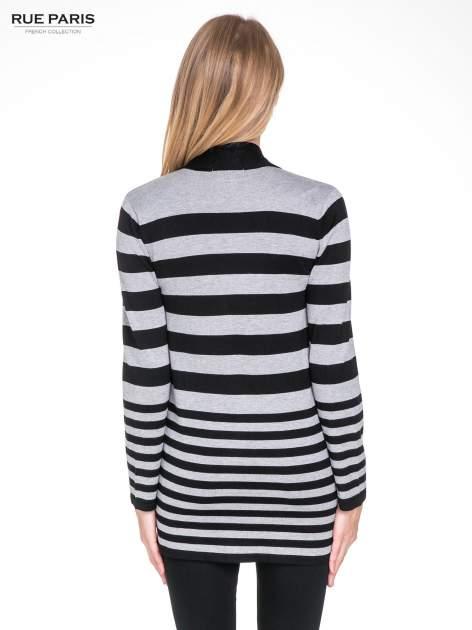 Szaro-czarny pasiasty otwarty sweter kardigan z prążkowanym kołnierzem                                  zdj.                                  4