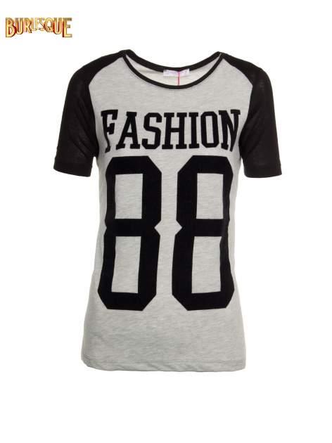 Szaro-czarny t-shirt z nadrukiem FASHION 88                                  zdj.                                  1
