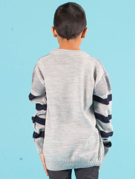 Szaro-granatowy sweter chłopięcy w paski                              zdj.                              3