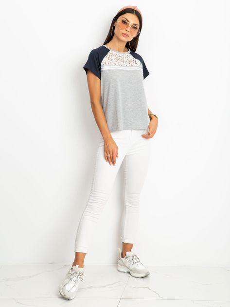 Szaro-granatowy t-shirt Euphoria                              zdj.                              4