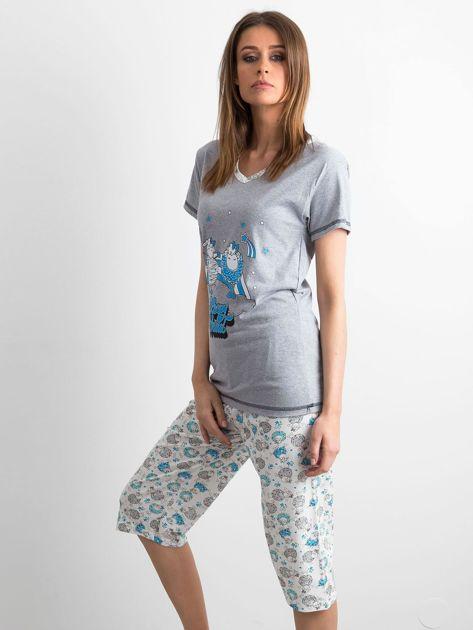Szaro-niebieska piżama w owce                              zdj.                              2