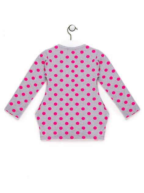 Szaro-różowa tunika dla dziewczynki w groszki