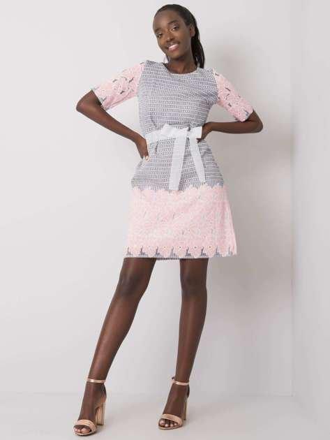 Szaro-różowa wzorzysta sukienka Katya