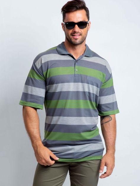 Szaro-zielona męska koszulka polo plus size Crowdy