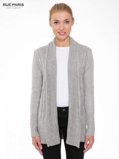 Szary ażurowy długi sweter typu kardigan                                  zdj.                                  1