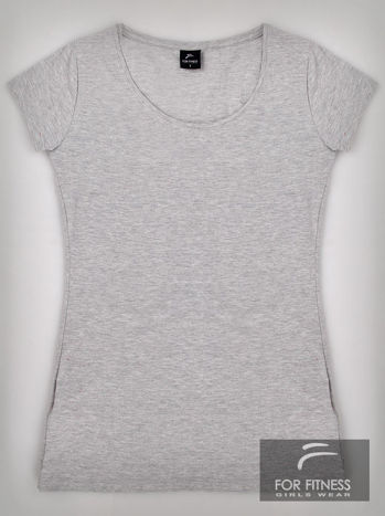Szary basicowy t-shirt For Fitness                                  zdj.                                  2
