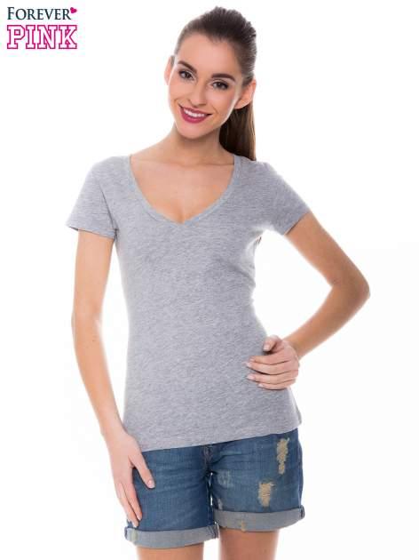 Szary basicowy t-shirt z dekoltem w serek                                  zdj.                                  1