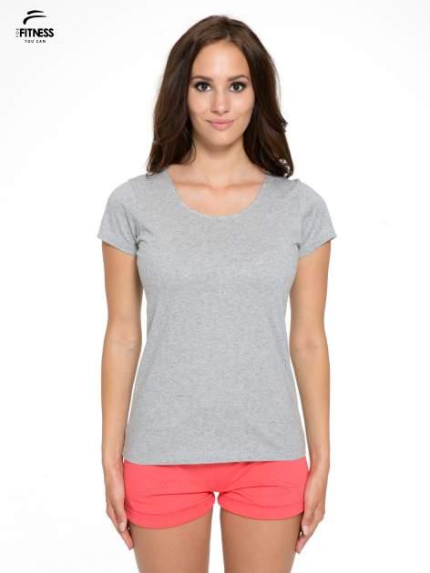 Szary bawełniany t-shirt damski typu basic