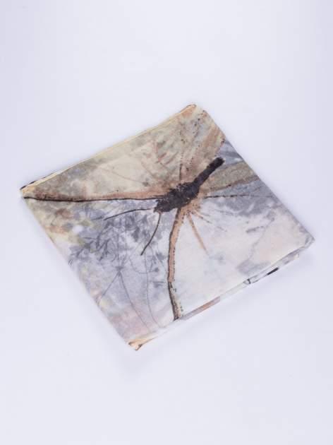 Szary cienki szal w motyle                                  zdj.                                  2