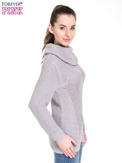 Szary ciepły sweter z golfowym kołnierzem                                  zdj.                                  3