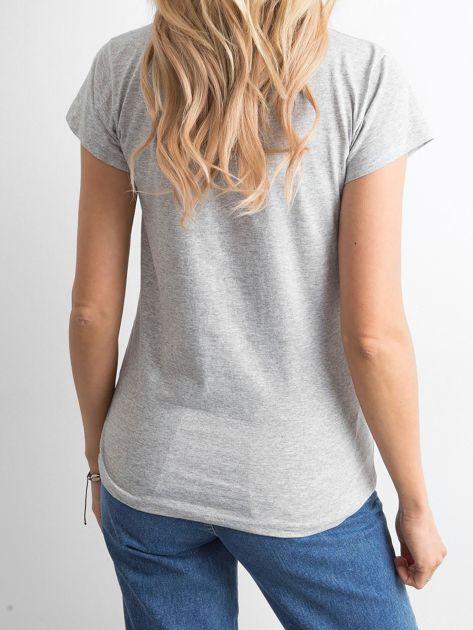 Szary damski t-shirt z napisem                              zdj.                              2