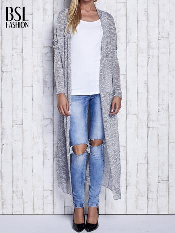 Szary długi sweter wzór melanżowy                                  zdj.                                  2