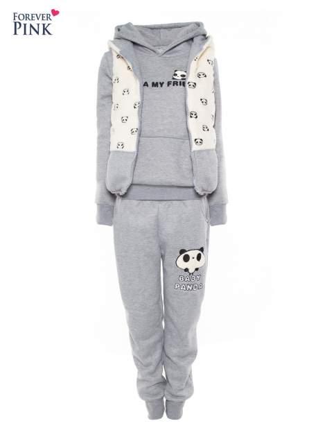 Szary dresowy komplet z motywem pandy