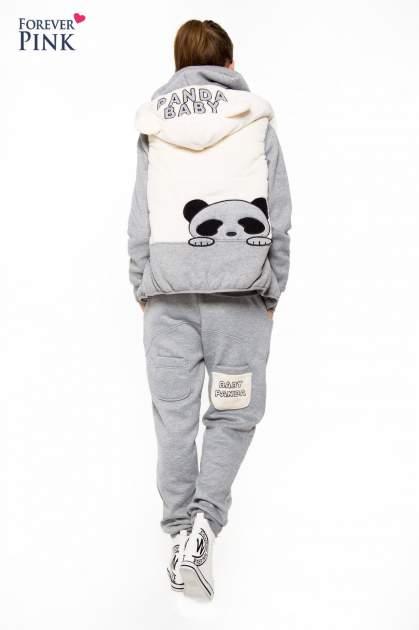 Szary dresowy komplet z motywem pandy                                  zdj.                                  4