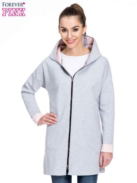 Szary dresowy płaszcz oversize z różową podszewką                                  zdj.                                  1