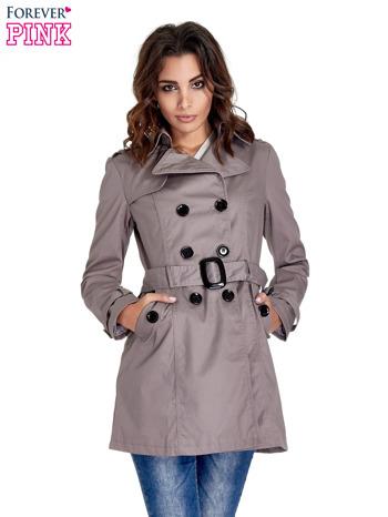 Szary klasyczny płaszcz typu trencz