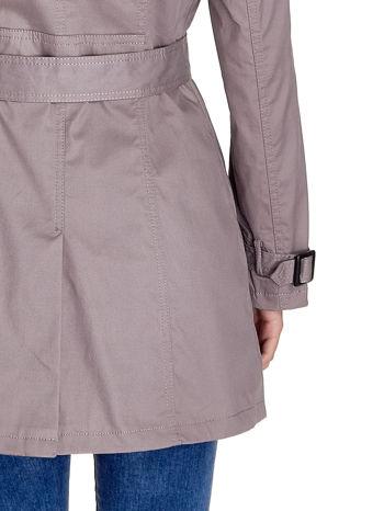 Szary klasyczny płaszcz typu trencz                                  zdj.                                  8