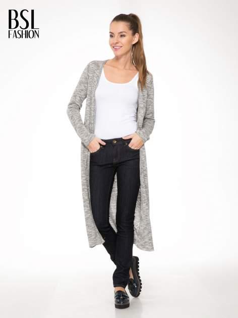 Szary melanżowy sweter typu długi kardigan                                  zdj.                                  2