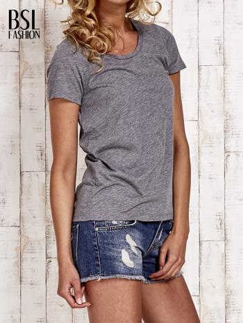 Szary melanżowy t-shirt basic                                  zdj.                                  3