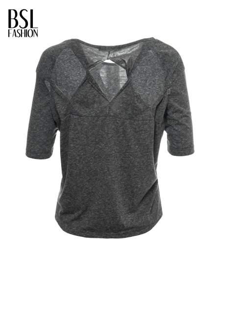 Szary melanżowy t-shirt o luźnym kroju                                  zdj.                                  3