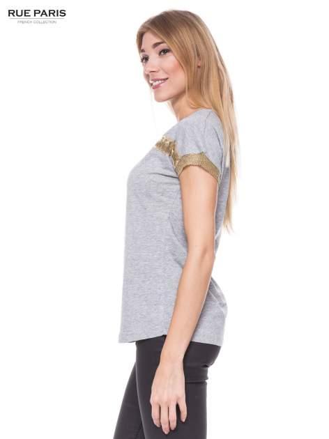 Szary melanżowy t-shirt ze złotą aplikacją                                  zdj.                                  2