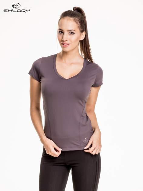 Szary modelujący damski t-shirt sportowy