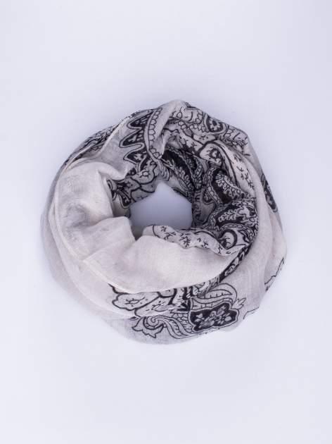Szary orientalny szal we wzór paisley                                  zdj.                                  1