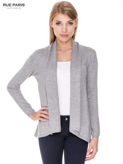 Szary otwarty sweter narzutka z dłuższym tyłem