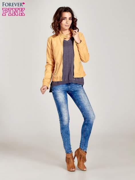 Szary sweter V-neck z rozporkami                                  zdj.                                  4