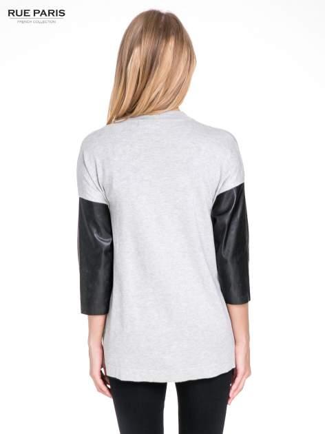 Szary sweter kardigan ze skórzanym rękawami 3/4                                  zdj.                                  4