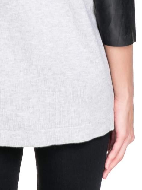 Szary sweter kardigan ze skórzanym rękawami 3/4                                  zdj.                                  8