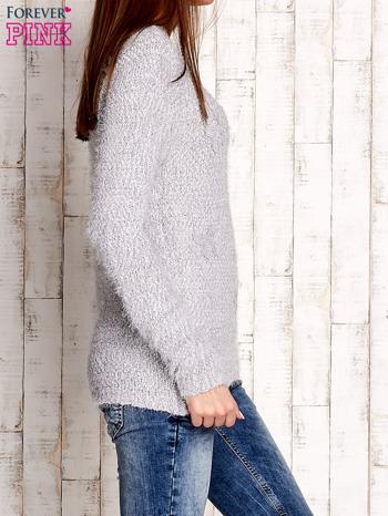 Szary sweter long hair z kokardkami                                  zdj.                                  3