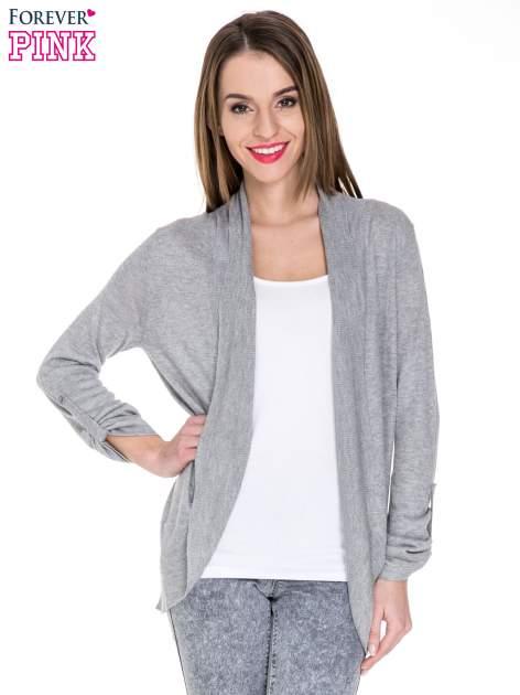 Szary sweter narzutka z wywijanymi rękawami                                  zdj.                                  1