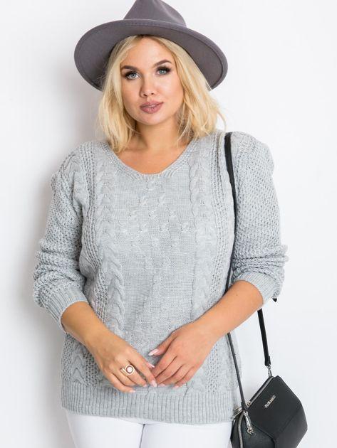 Szary sweter plus size Flower