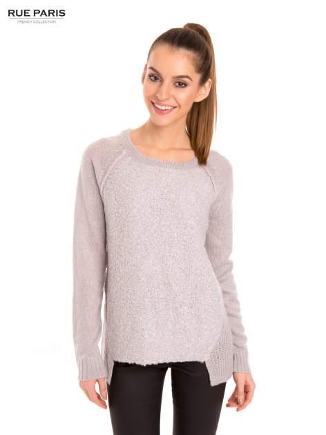 Szary sweter z dłuższym tyłem                                  zdj.                                  1
