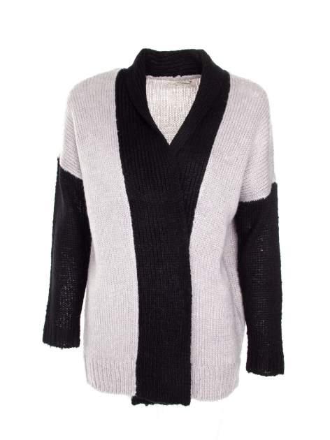 Szary sweter z kontrastowym pasem i rękawami